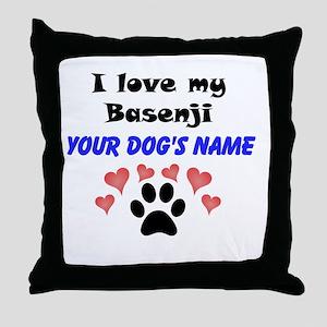 Custom I Love My Basenji Throw Pillow
