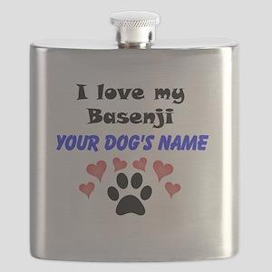 Custom I Love My Basenji Flask