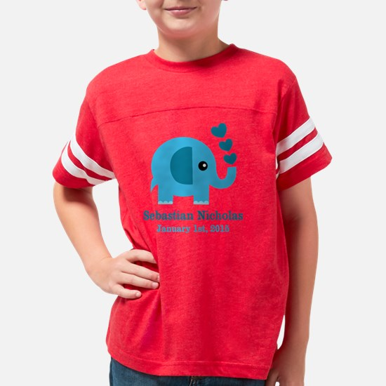 Blue Elephant CUSTOM baby nam Youth Football Shirt