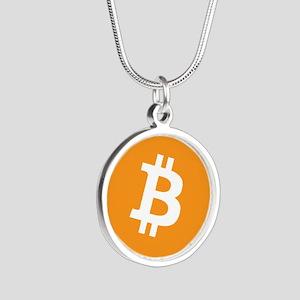 Silver Round Bitcoin Necklace