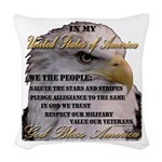 My USA, United States of America Woven Throw Pillo