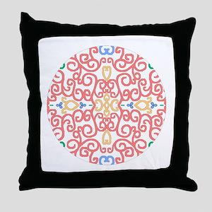 Art Nouveau (Black/Salmon) Throw Pillow
