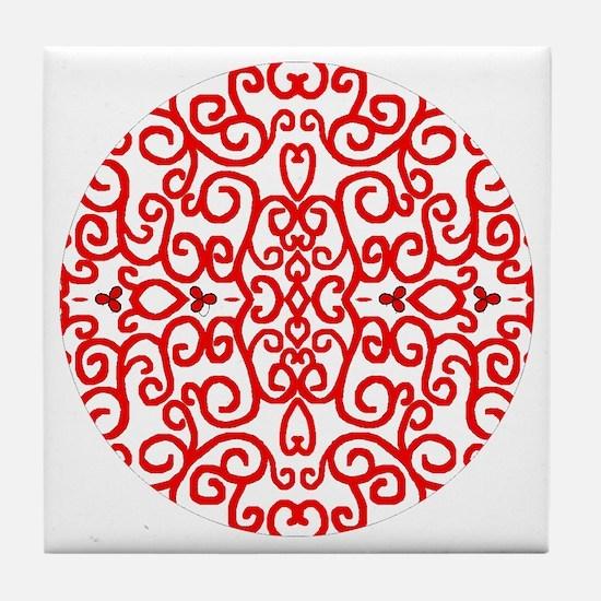 Art Nouveau (black/red) Tile Coaster