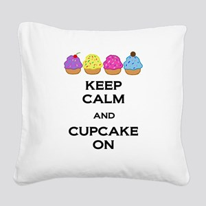 Cupcake On Square Canvas Pillow