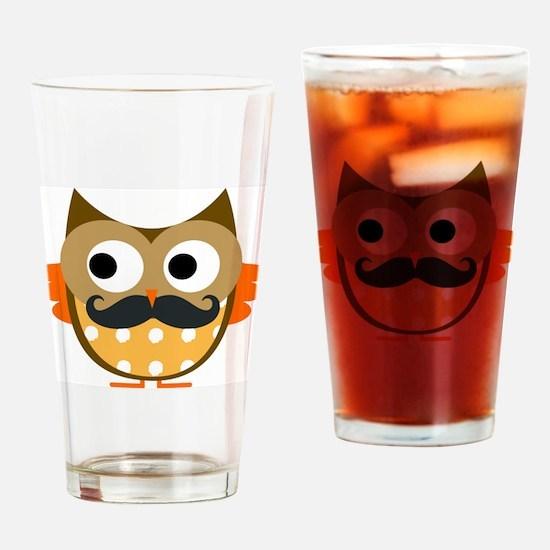 Mustachioed Owl Drinking Glass