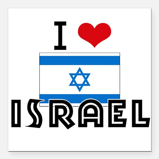 "I HEART ISRAEL FLAG Square Car Magnet 3"" x 3"""