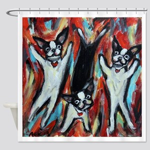 Boston Terrier love dance party Shower Curtain
