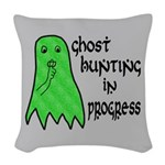 Ghost Hunting In Progress Woven Throw Pillow