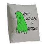 Ghost Hunting In Progress Burlap Throw Pillow