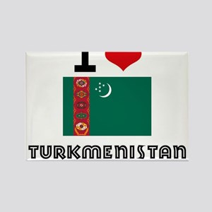 I HEART TURKMENISTAN FLAG Rectangle Magnet