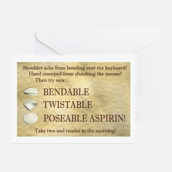 Poseable Aspirin Greeting Cards (Pk of 10)