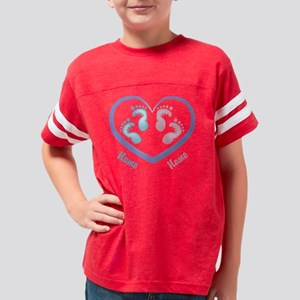 Boy/Girl Twin Footprints CUST Youth Football Shirt