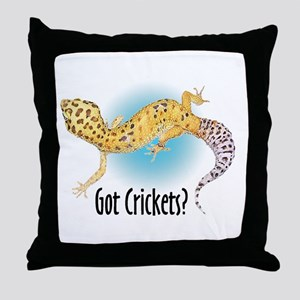 Gecko Got Crickets Throw Pillow