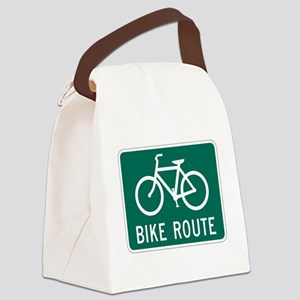 Bike Route Sign Canvas Lunch Bag