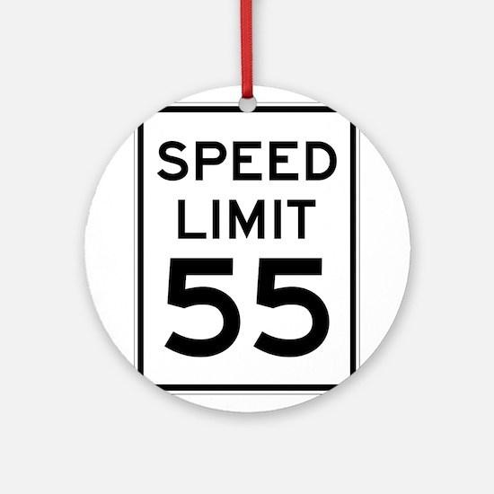 Speed Limit 55 Sign Ornament (Round)