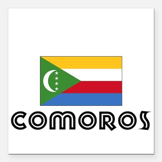 """I HEART COMOROS FLAG Square Car Magnet 3"""" x 3"""""""