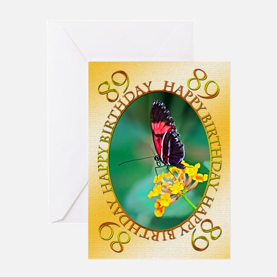 89th birthday. butterfly on a flower Greeting Card