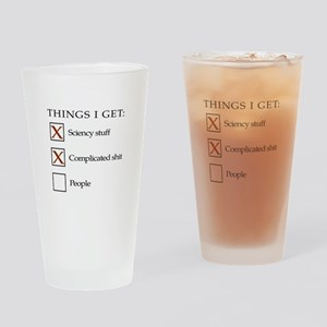 ThingsIGet1_black_print_no_bgr Drinking Glass