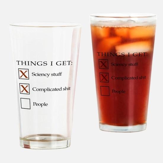 ThingsIGet1_black_print_no_bgr Drinking Glass