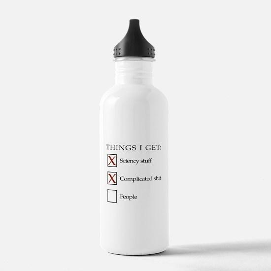 ThingsIGet1_black_print_no_bgr Sports Water Bottle
