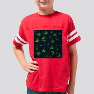 Neon Green and Navy Blue Naut Youth Football Shirt