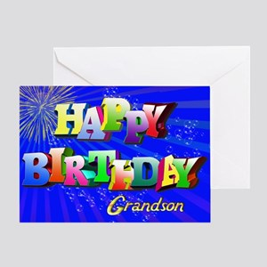 Grandson birthday greeting cards cafepress grandson bright letters and bubbles birthday card m4hsunfo