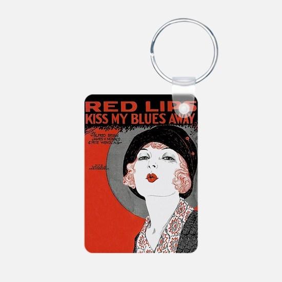 Vintage Red Lips Kiss Aluminum Photo Keychain