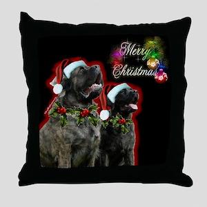Brindle Merry XMas Throw Pillow