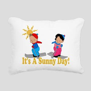 Sunny Day Skiing Rectangular Canvas Pillow