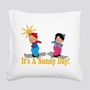 Sunny Day Skiing Square Canvas Pillow
