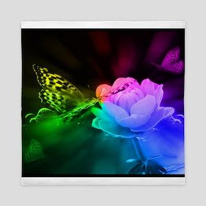 Dark Rainbow Butterfly Blanket Queen Duvet