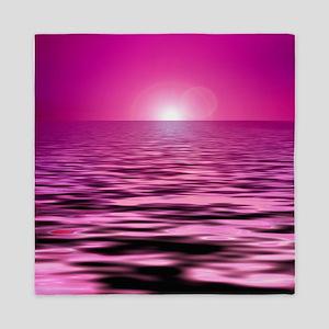 pink ocean sunset Queen Duvet