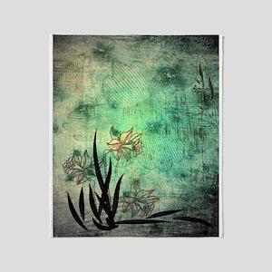 Oriental Lilies Throw Blanket