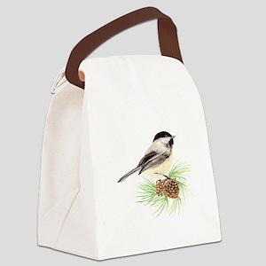 Chickadee Bird on Pine Branch Canvas Lunch Bag