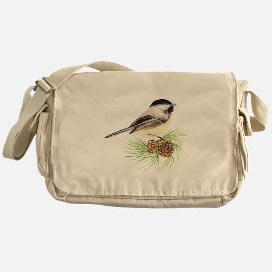 Chickadee Bird on Pine Branch Messenger Bag