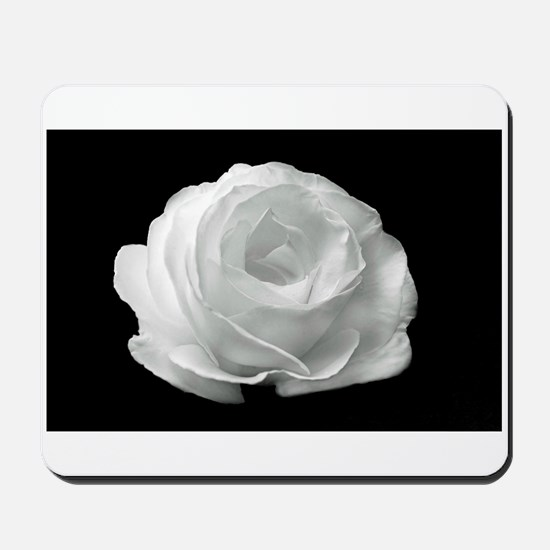 White Rose On Black Background Mousepad