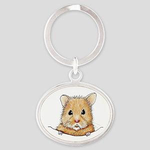 Pocket Hamster Oval Keychain
