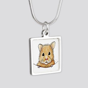 Pocket Hamster Silver Square Necklace