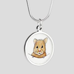 Pocket Hamster Silver Round Necklace