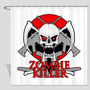 Zombie killer red Shower Curtain