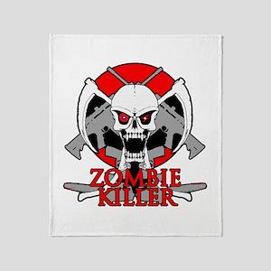 Zombie killer red Throw Blanket