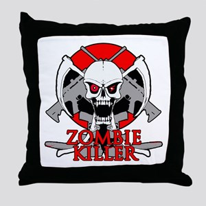 Zombie killer red Throw Pillow