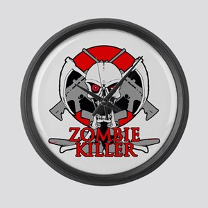 Zombie killer red Large Wall Clock