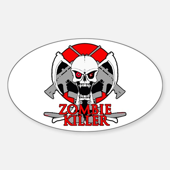 Zombie killer red Sticker (Oval)