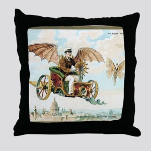 Vintage Art Flying Machine Dirigible  Throw Pillow