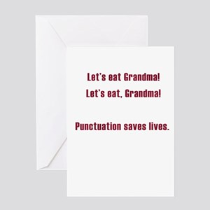 English language greeting cards cafepress lets eat grandma greeting card m4hsunfo