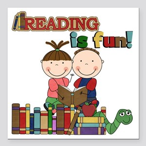 """Reading is Fun Square Car Magnet 3"""" x 3"""""""