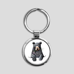 Pocket Black Bear Round Keychain