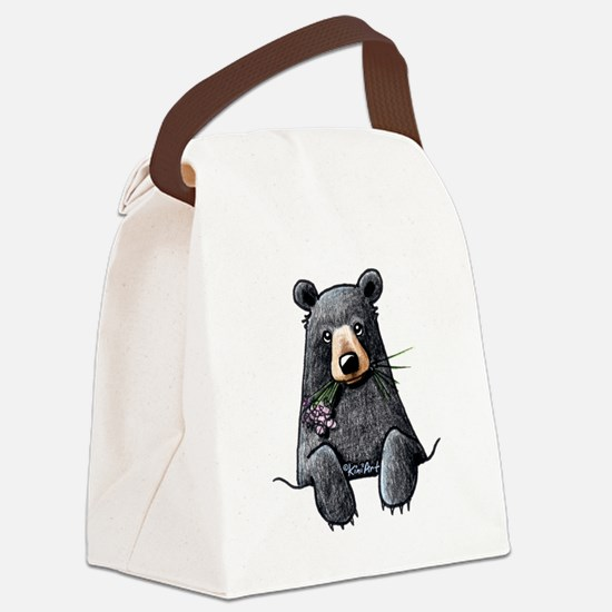 Pocket Black Bear Canvas Lunch Bag