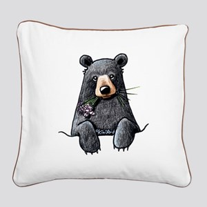 Pocket Black Bear Square Canvas Pillow